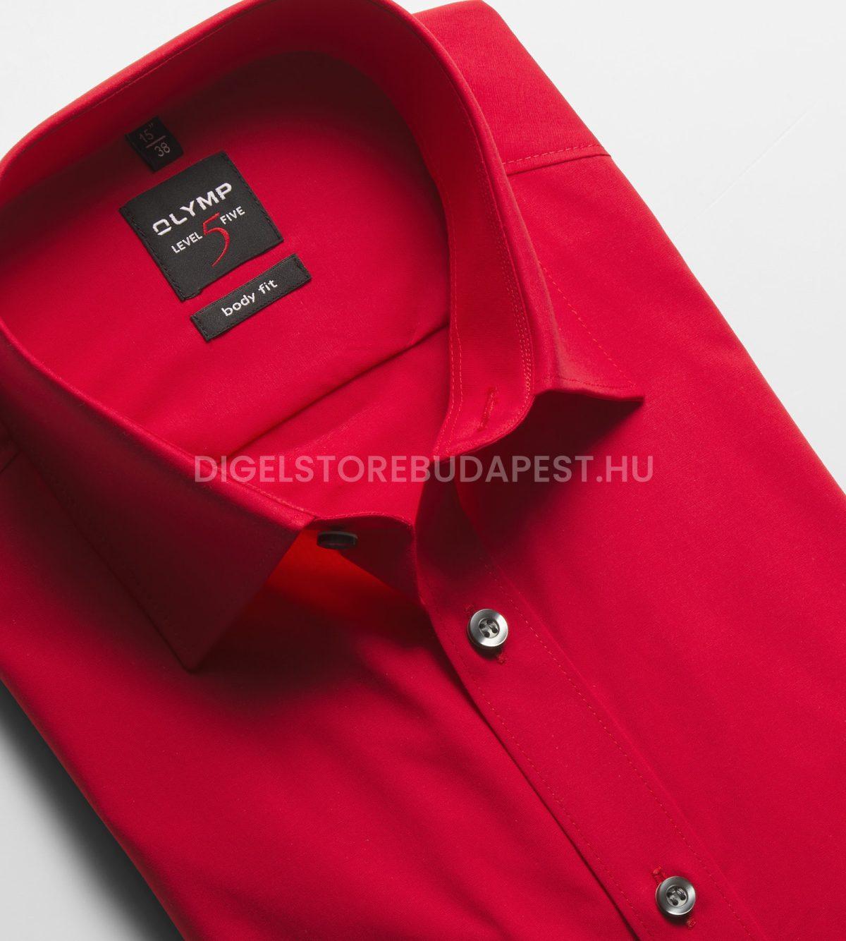 OLYMP Level Five piros body fit vasaláskönnyített ing-1-1-6090-64-35-02